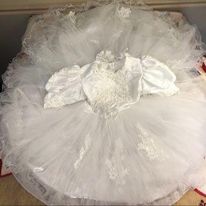 Vintage Childs Circle Wedding Bride Toddler Dress